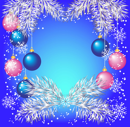 twirling: Christmas background with silver fir twigs and balls