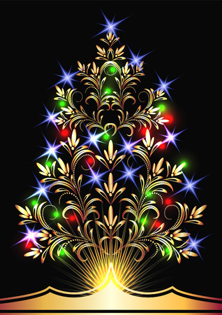 Christmas golden fur-tree with colorful lights Vector