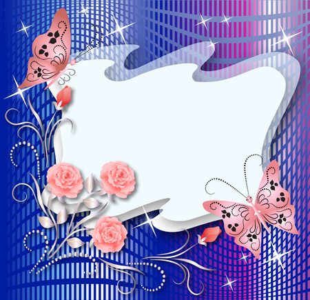 Magic floral background with butterflies and a place for text or photo Vector