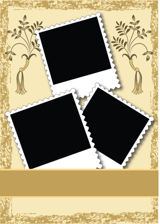 Page layout photo album with ornament Vector