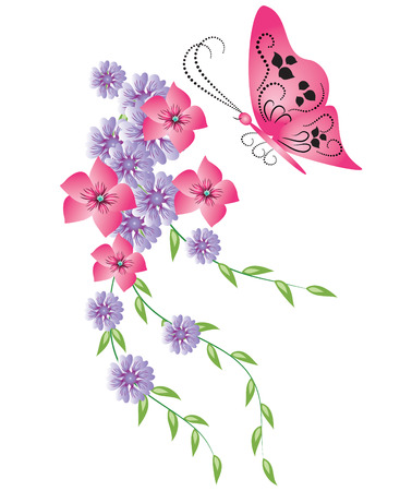 Decorative floral ornament with butterfly Illustration