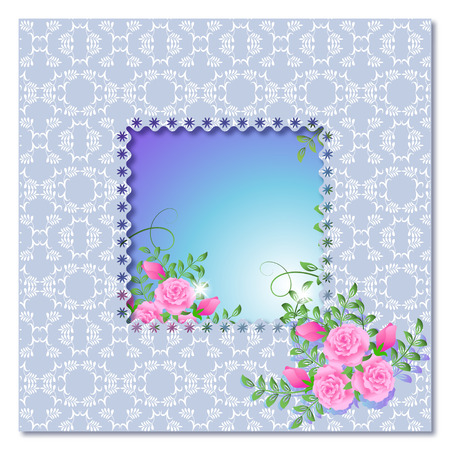 Background with frame, roses and a place for text or photo. Vector