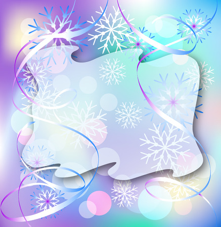 twirling: Christmas background with serpentine and snowflakes