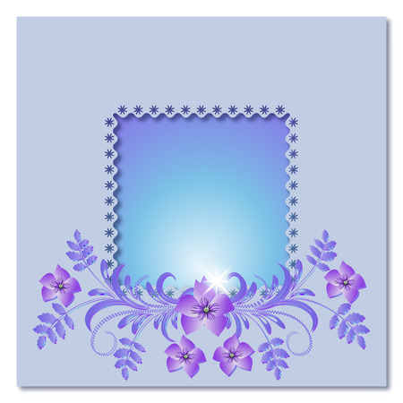 Background with frame, flowers and a place for text or photo. Vector