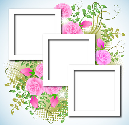 Page layout postcard with flowers ornament for inserting text or photo Stock Vector - 8154172