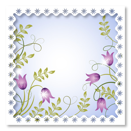 Page layout postcard with flowers ornament for inserting text or photo Stock Vector - 8154184