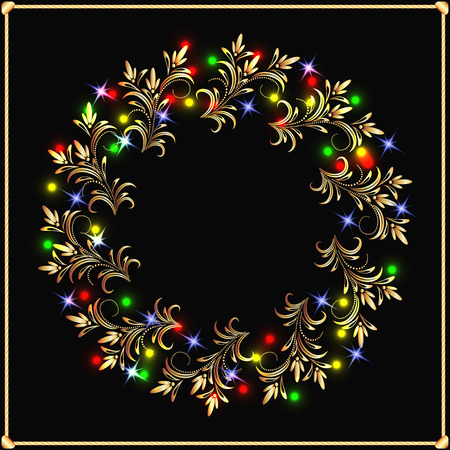 lighted: Golden wreath with lighted lamps Illustration