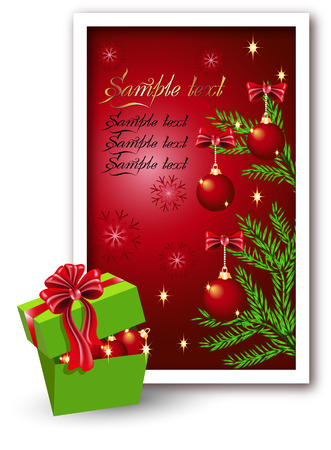 Christmas background with a gift box Vector