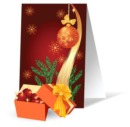 Christmas background with a gift box Stock Vector - 8154167