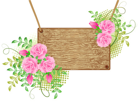 headline: Wooden  signboard with roses for text Illustration