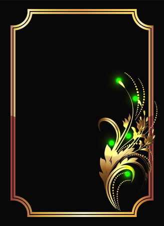 sparkling: Background with golden ornament and sparkling lights