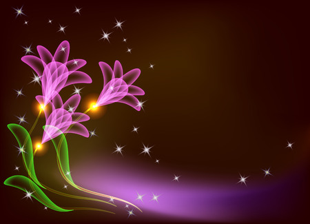 Magic transparent flowers and stars Stock Vector - 8212842