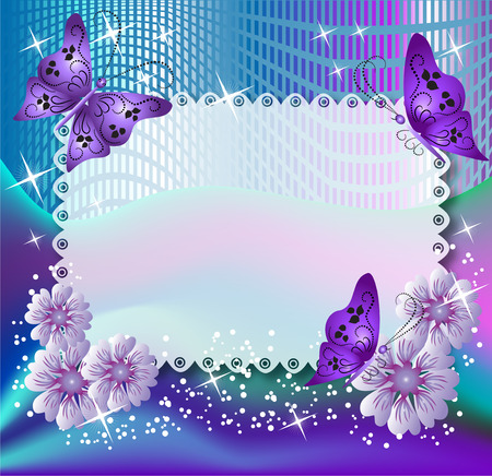 violet flower: Magic background with butterflies and flowers