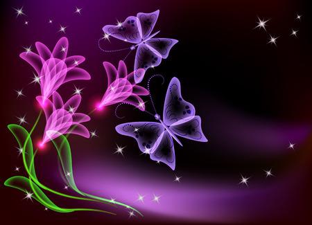 Gloeiende transparante bloemen, sterren en vlinder  Vector Illustratie
