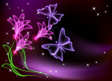 butterfly flower: Glowing transparent flowers, stars and butterfly
