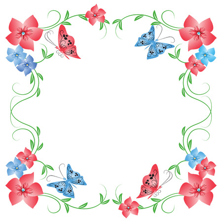 tendril: Floral frame with butterfly