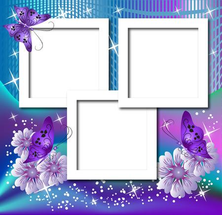 Diseño de marcos de fotografía con flores y mariposas  Ilustración de vector