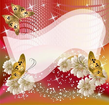 Cartolina disegno con fiori e farfalle per l'inserimento di testo o foto