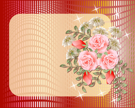 transparent brush: Design postcard with flowers and stars for inserting text or photo