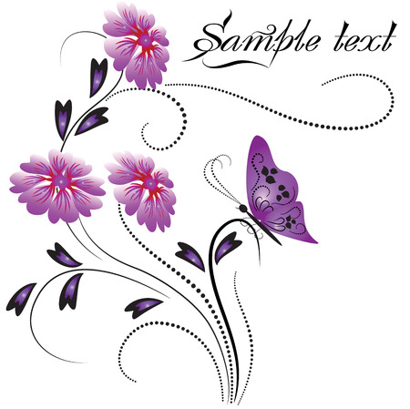 Decorative ornament with flowers and butterfly Stock Vector - 8212851