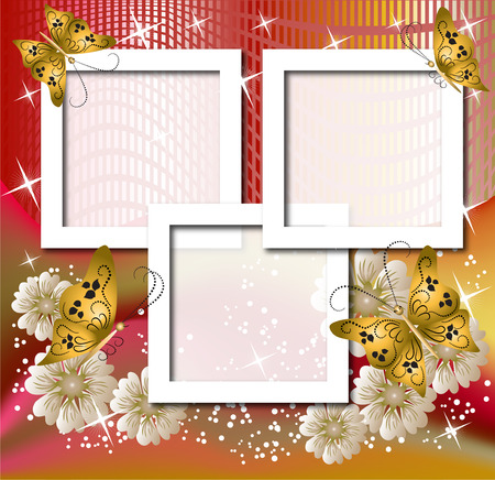 Design photo frames with flowers and butterfly Stock Vector - 8212864