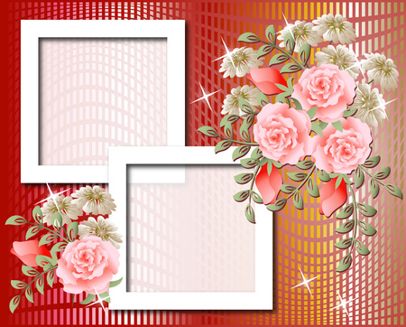 Design photo frames with roses Vector