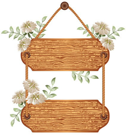 table surface: Wooden  signboard with flowers for text Illustration