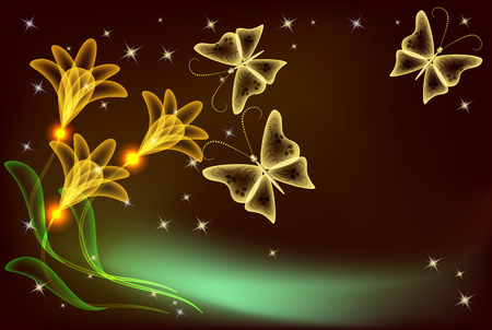 Glowing transparent flowers, stars and butterfly Stock Vector - 8212870