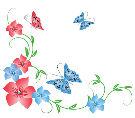Flowers ornament with butterfly Vector