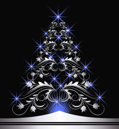 Christmas silver fur-tree with blue stars Vector