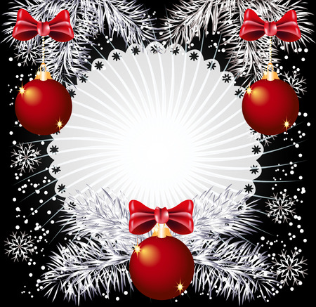 Christmas background with silver fir twigs and balls Vector