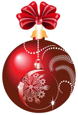 Bola de Navidad rojo con arco  Vectores