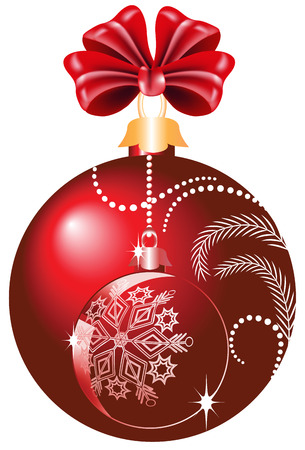 Christmas red ball with bow Illustration