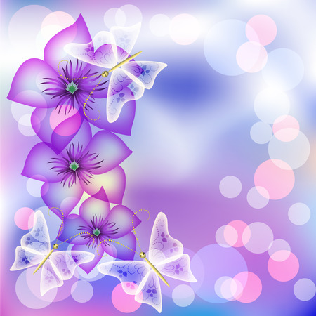 Floral shining vector background with transparent butterfly Vector