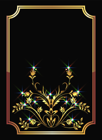 Background with golden ornament and sparkling lights Stock Vector - 8282715