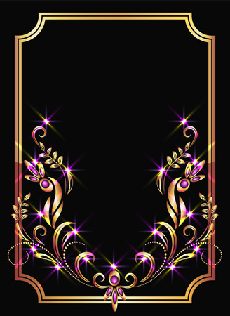 luxurious: Background with golden ornament and sparkling lights
