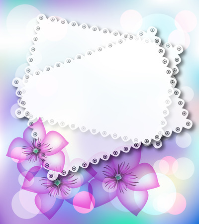 Magic background with flowers, stars and a place for text or photo. Vector