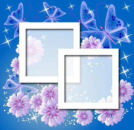 Design photo frames with flowers and butterfly Vector