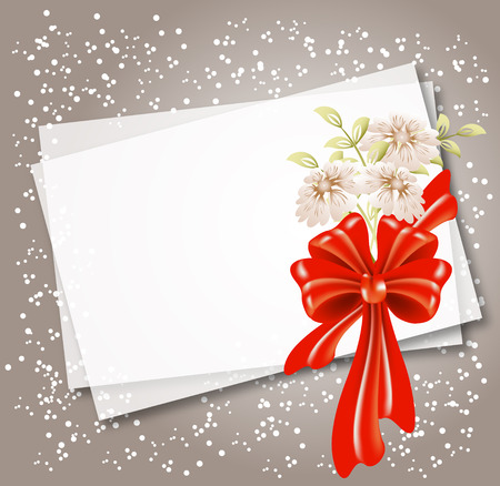 Background for text or photo with flowers and red bow