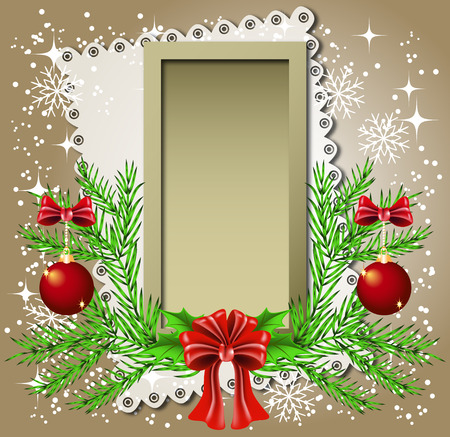 Christmas background with frame for photos or text box Vector