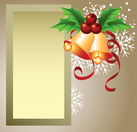 Christmas background with frame, bells for photos or text box Vector