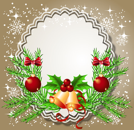 lace edges: Christmas background with bells, frame for photos or text box