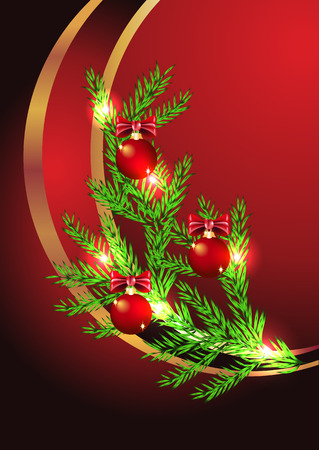 Christmas background with spruce twig and Christmas decorations Stock Vector - 8348748
