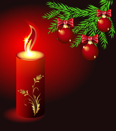 Christmas lighted candle and fir branches with balls Stock Vector - 8348722