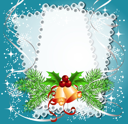 Christmas background with bells, lace for photos or text box Vector