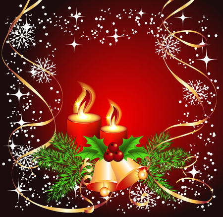 Christmas background with candles, bells for photos or text Stock Vector - 8348756