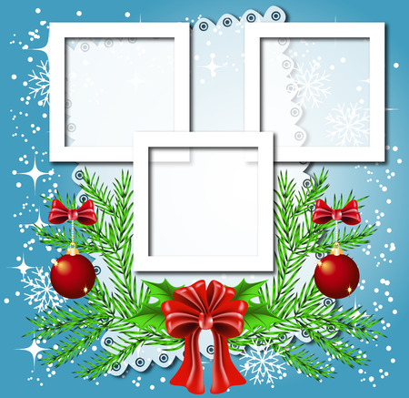 fur trees: Christmas background with frame for photos or text box