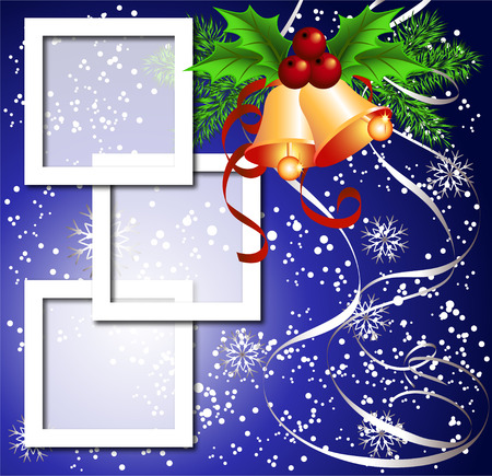 year curve: Christmas background with frame, bells for photos or text box