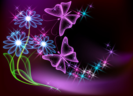 Glowing transparent flowers, stars and butterfly Vector