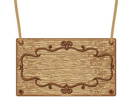 letrero: Panel de señal de madera para el texto